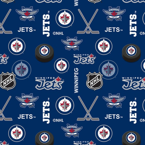 Nhl Winnipeg Jets Flannel Hockey 100 Cotton Fabric Material Etsy