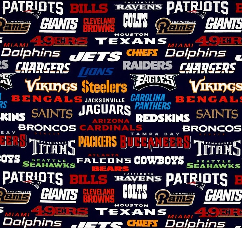 NFL ALL TEAMS Names & Logos Football 100% cotton fabric material you choose  the size, licensed for Crafts, Quilts, Home Decor