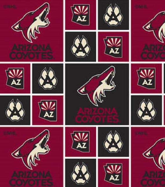 ARIZONA COYOTES NHL HOCKEY 100/% COTTON FABRIC MATERIAL CRAFT BY THE 1//2 YARD