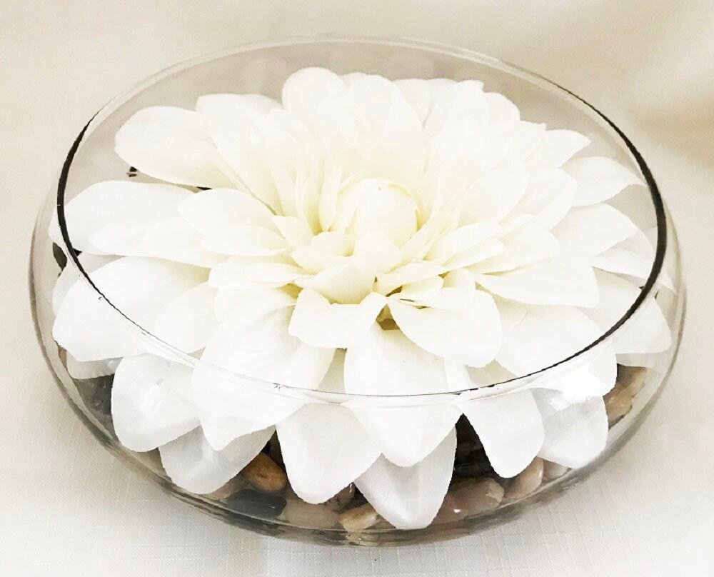 White Dahlia, Silk Flower Arrangement, Handmade, Bridal Shower ...
