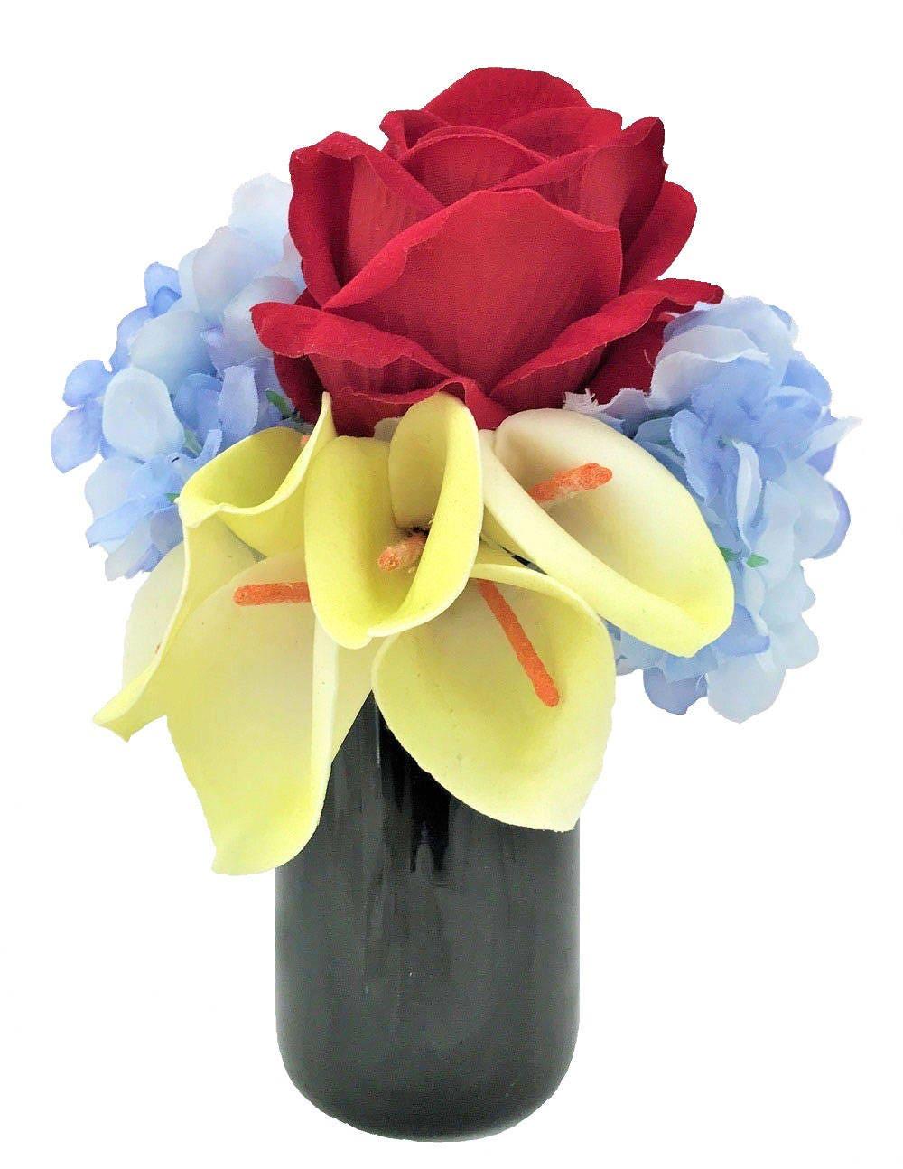 Red Velvet Rose Hydrangea Calla Lily Silk Flower Silk Floral
