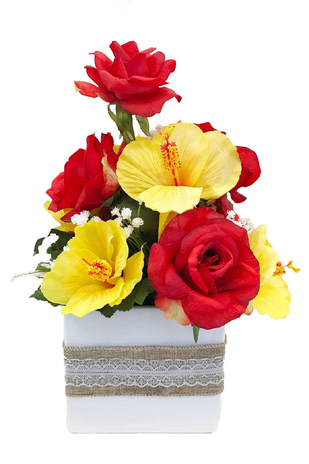 Red Roses Yellow Hibiscus Artificial Flowers Silk Floral