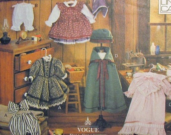 """Vogue Craft 8337 18"""" Early American Doll Clothes Sewing Pattern Linda Carr UNCUT"""
