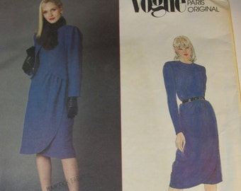 28585ad8208 Vogue 2577 Paris Original UNCUT Dress and Jacket Vintage 1980s 80s Pierre  Balmain Sewing Pattern Size 16 Bust 38