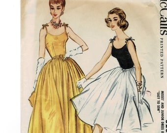 """McCall's 5200 1950s Cocktail Dress with Full Skirt Camisole Fitted Bodice Sewing Pattern Bust 33"""" Vintage"""