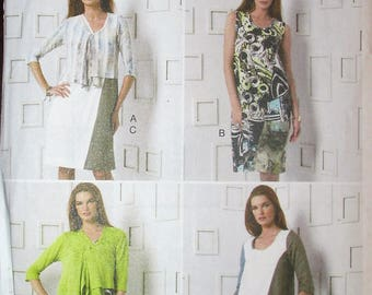 5118d031d8bad Vogue V9081 Marcy Tilton Misses Cardigan and Dress Sewing Pattern Vogue  Designer Original UNCUT Plus Size F5 16 18 20 22 24 9081