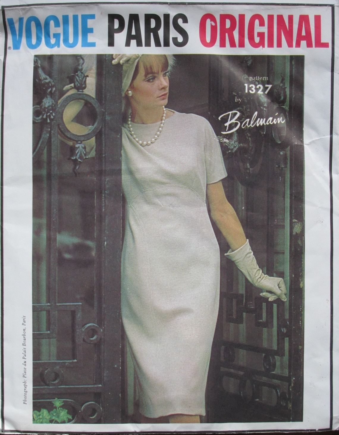 Jean Shrimpton in a Balmain dress - Vogue Paris Original pattern no. 1327