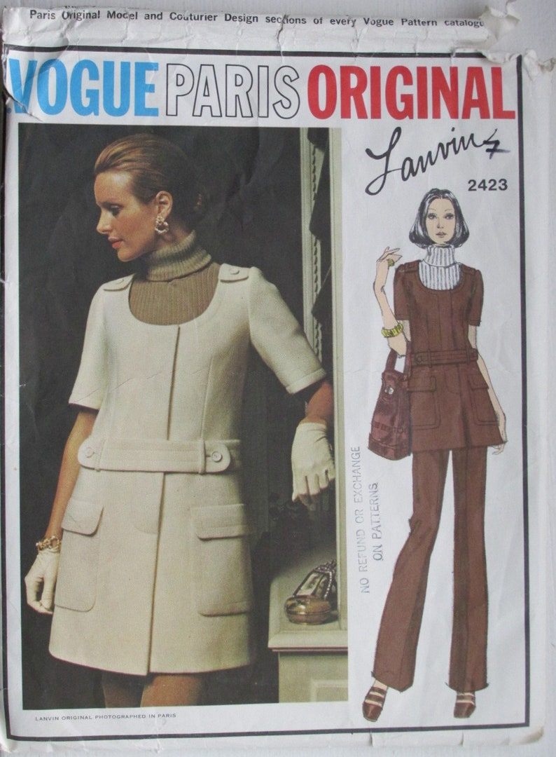 Vogue 2423 Vintage 1970s Lanvin Paris Original Mini Jumper Etsy