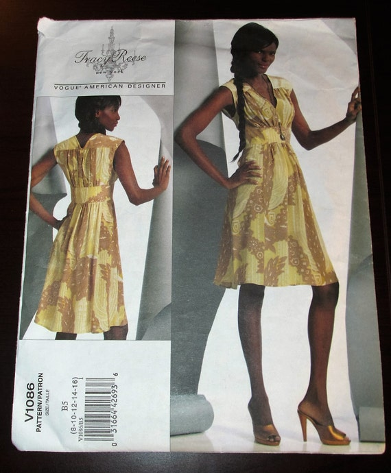 Vogue 1086 Tracy Reese Flared Dress Pattern American Designer UNCUT Size B5  8 - 16 or Plus Size GG 18 -24 V1086