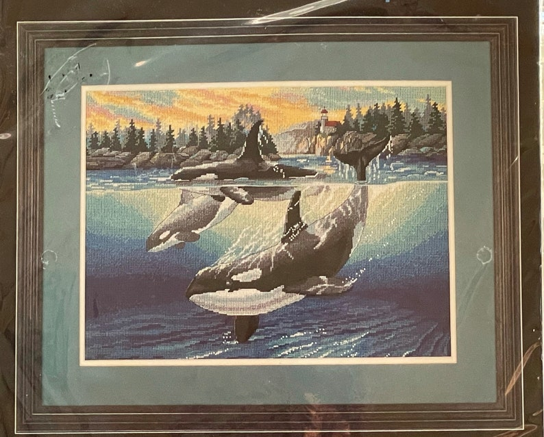 Dimensions ORCA COVE Whales Needlepoint Kit 2469 New 1990s Sherry Vintson Design