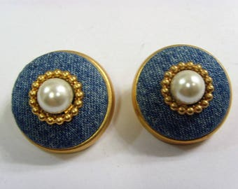 Rare vintage signed Rasco nyc bold chick pearl breast clipon earrings e1411
