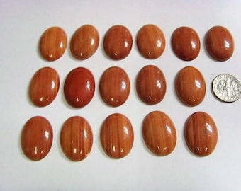 brown picture jasper 1940 vintage 16 oval cabochons lot 25 x18 mm lapidary et1429
