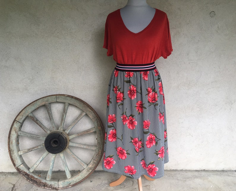 Long summer skirt woman elastic waist printed red flowers on blue and white stripes background