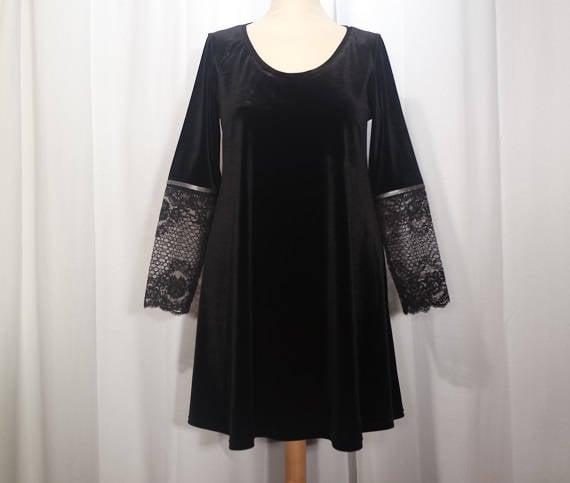 Trapez Kleid ausgestellte samt und Spitze Langarm schwarz