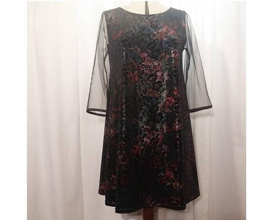 Trapez ausgestelltes Kleid samt schwarz Blumen bedruckt Boden multicolor 34 Ärmel