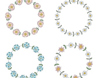 Pink Flower Wreath Clipart Cute Floral Border Blue Wedding Rustic Round Botanical Circle