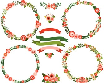 Rustic Christmas Wreath Clipart Digital Clip Art Flowers