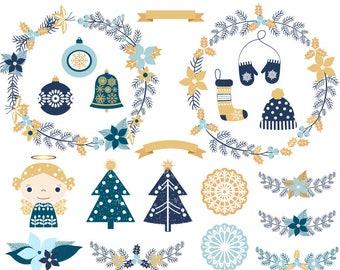 Rustic Christmas Clipart Holiday Pine Wreath Clip Art Blue Angel Ornament Flourish Tree Mittens Stocking Hat
