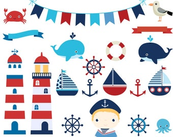 Cute nautical clipart, Lighthouse clip art anchor, Marine sailing party sailor clipart, Ocean sailboats clipart, helm, crab, bunting, whale