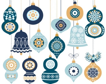 Christmas clip art graphic set, Christmas tree ornament clipart, Christmas balls, Digital Christmas bauble, Blue Christmas ornament clip art