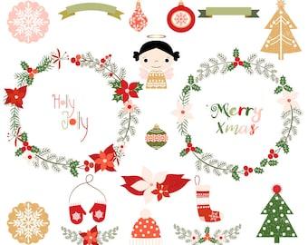 Merry Christmas Wreath Clipart Set Holiday Clip Art Digital Angel Ornament Round Border Frame Flower Poinsettia