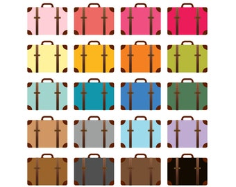 Suitcase Clipart Clip ArtTravel Luggage Rainbow Vacation Art