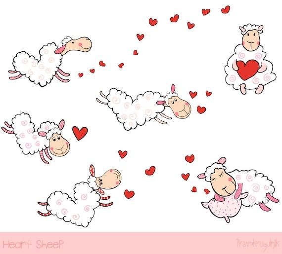 Cute sheep clipart Love clip art Heart shaped sheep baby ...