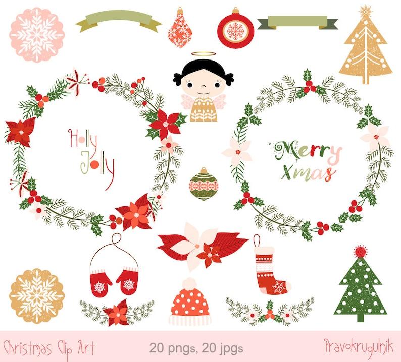 Frohe Weihnachten Rahmen.Frohe Weihnachten Kranz Clipart Set Adventskranz Clipart Digitale Engel Ornament Runde Border Rahmen Clipart Weihnachtsstern Blumenkranz