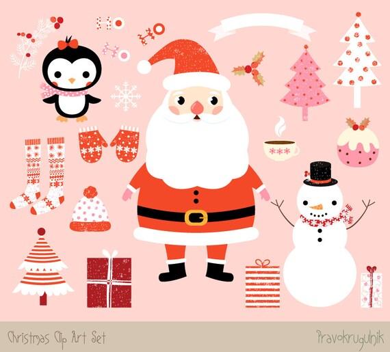 Cute Christmas Clip Art.Kawaii Christmas Clipart Images Cute Christmas Clip Art Set Santa Clipart Christmas Graphic Winter Clipart Snowman And Penguin Clipart