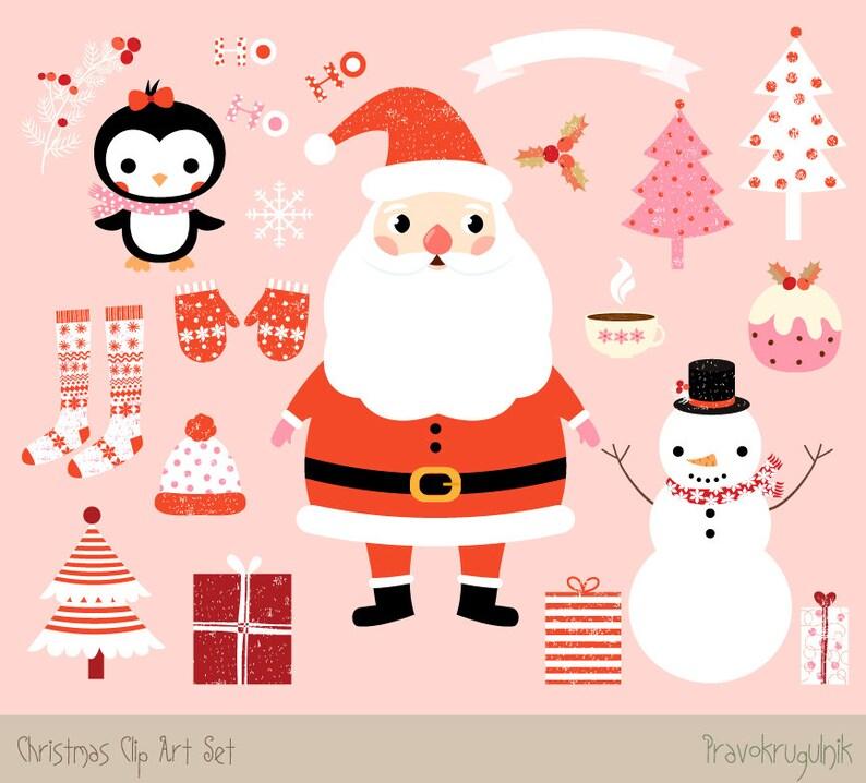 Bilder Weihnachten Clipart.Kawaii Weihnachten Cliparts Süße Weihnachten Clipart Set Santa Clipart Weihnachten Grafik Winter Clipart Schneemann Und Pinguin Clipart