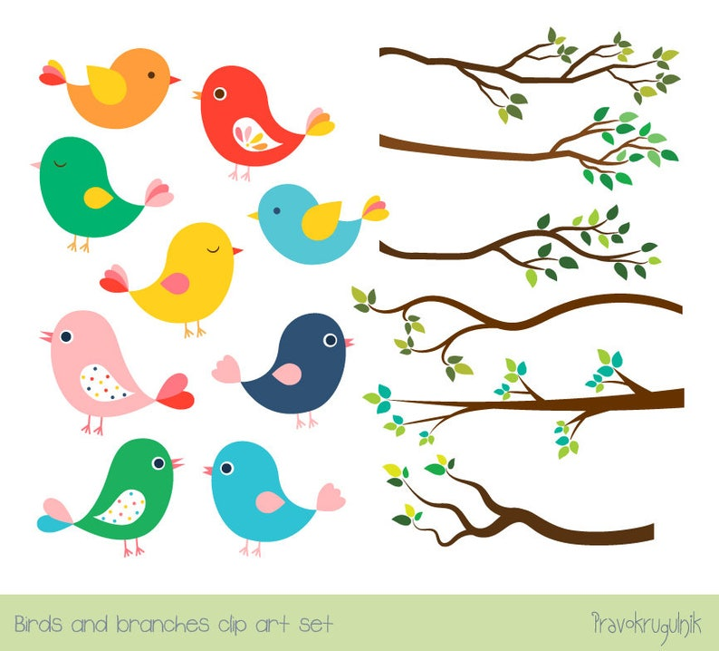 Cute Bird Clipart Set Tree Branch Clip Art Colorful Spring Etsy