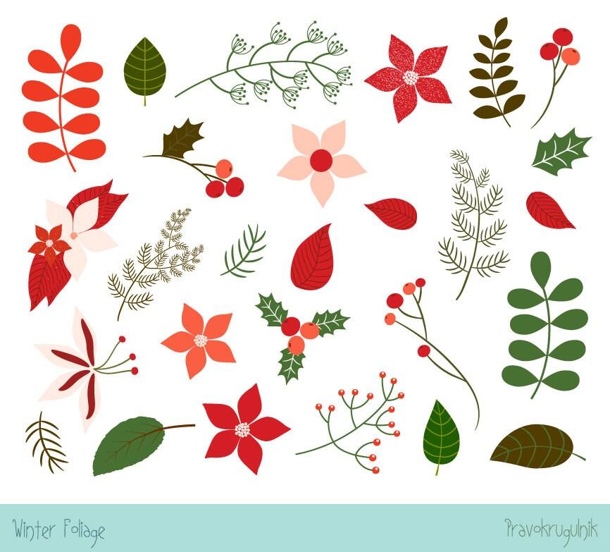 Weihnachten Laub Clipart Weihnachten Blume Cliparts Karte | Etsy