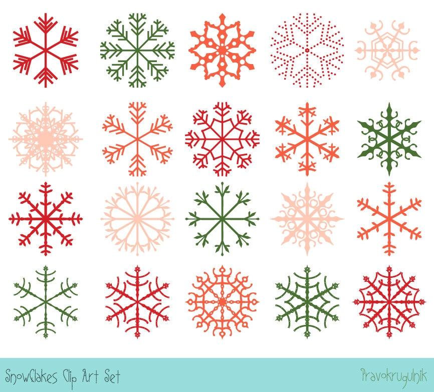 Sofortiger Download Weihnachten Schneeflocke ClipArt rote   Etsy