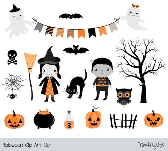 Halloween Clipart For Kids Cute Halloween Clipart Girl Witch Etsy