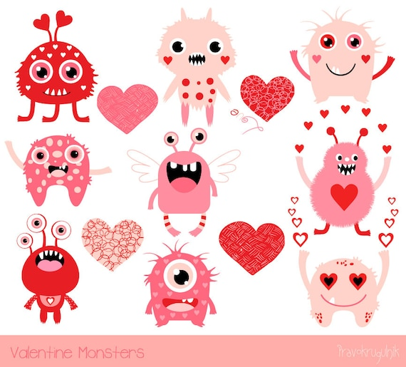Cute Valentine Monsters Clipart Kids Valentine Clipart Pink Etsy