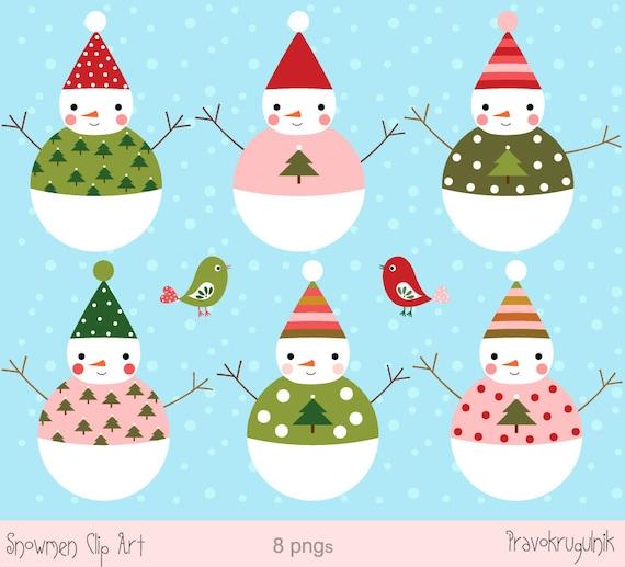 Schneemann Clip Art Winter Clipart Weihnachten Schneemann Etsy