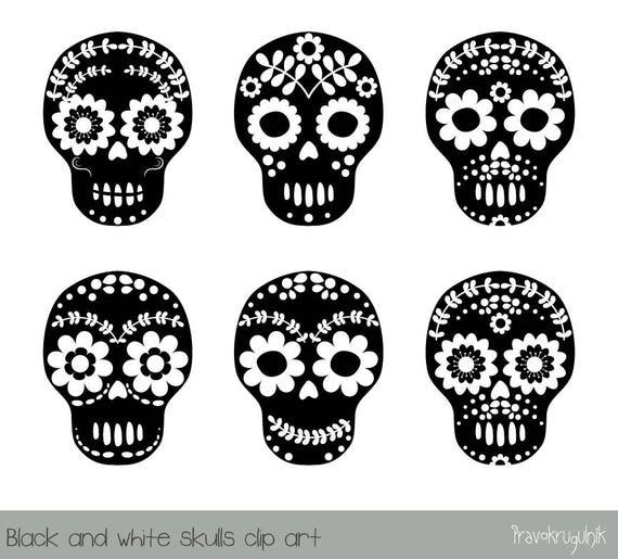 Sugar Skull Clipart Black And White Flower Skull Clipart Day Etsy