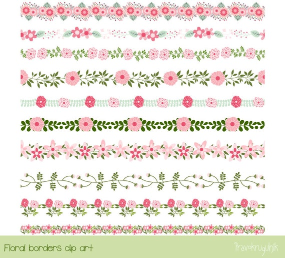 Pink flower border clipart cute floral border clip art etsy image 0 mightylinksfo