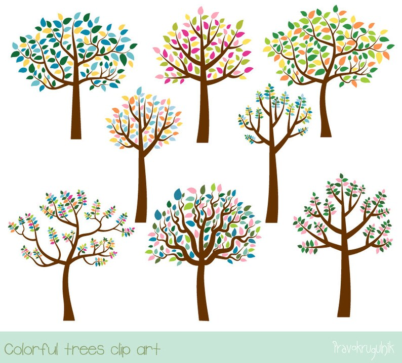 Colorful Tree Clipart Family Tree Clip Art Digital Leafy Etsy
