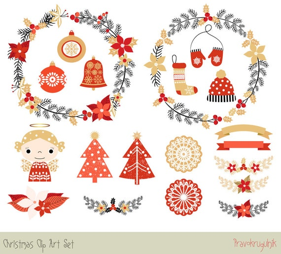 Cute Christmas Clipart Set Holiday Digital Border