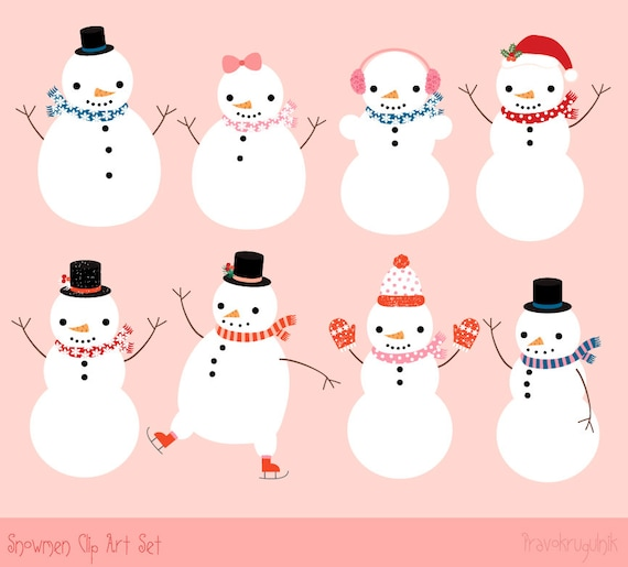 cute snowman clipart instant download winter clipart kawaii etsy rh etsy com Cute Snowman Clip Art Small cute snowman clipart free