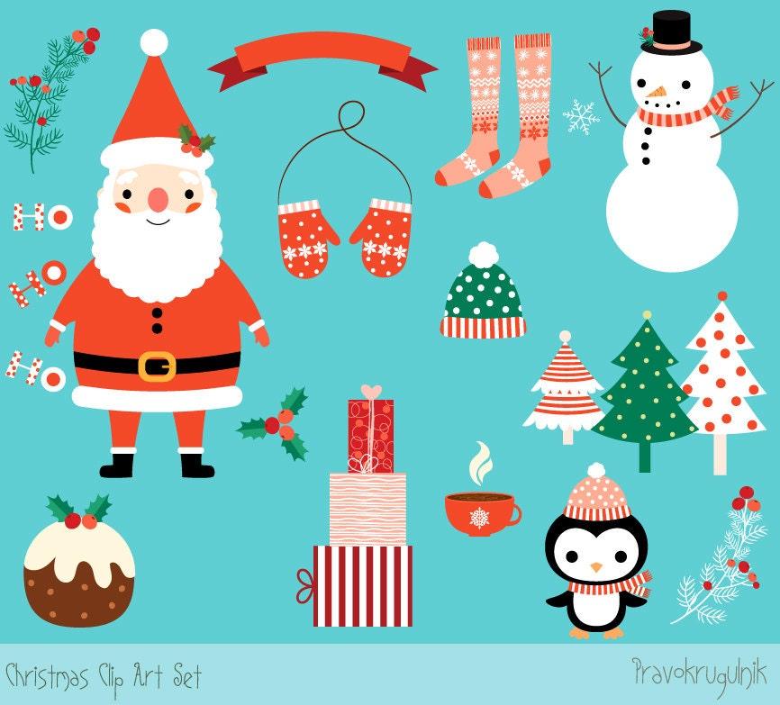 Cute Christmas clipart set Kawaii Christmas clip art Digital | Etsy