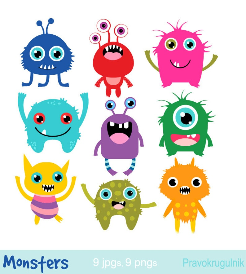 f717e162200b Little monsters clipart Birthday party monsters Monsters