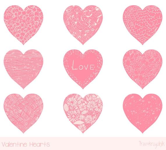 Valentine Heart Clip Art Pink Heart Clipart Hand Drawn Heart Etsy