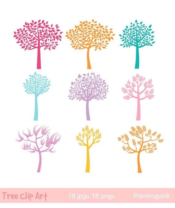 Bunter Baum Clipart Farbe Baum Silhouette Clipart ClipArt