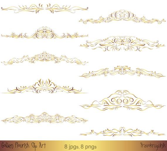 Gold Border Clipart Gold Frame Clipart Gold Clip Art Swirl Etsy