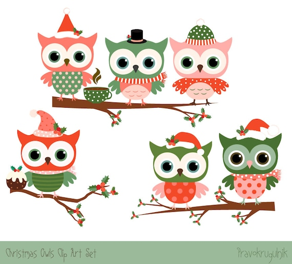 Cute Christmas Clip Art.Christmas Owl Clipart Set Cute Christmas Clipart Cute Owl Clip Art Winter Clipart Red Owl Drawing Digital Green Owl On Tree Branch