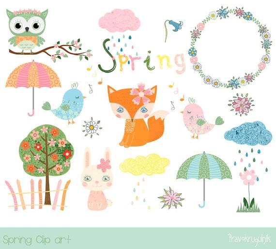 cute spring clipart kawaii fox clipart bird clip art spring etsy rh etsy com cute spring clipart black and white Happy Spring Clip Art