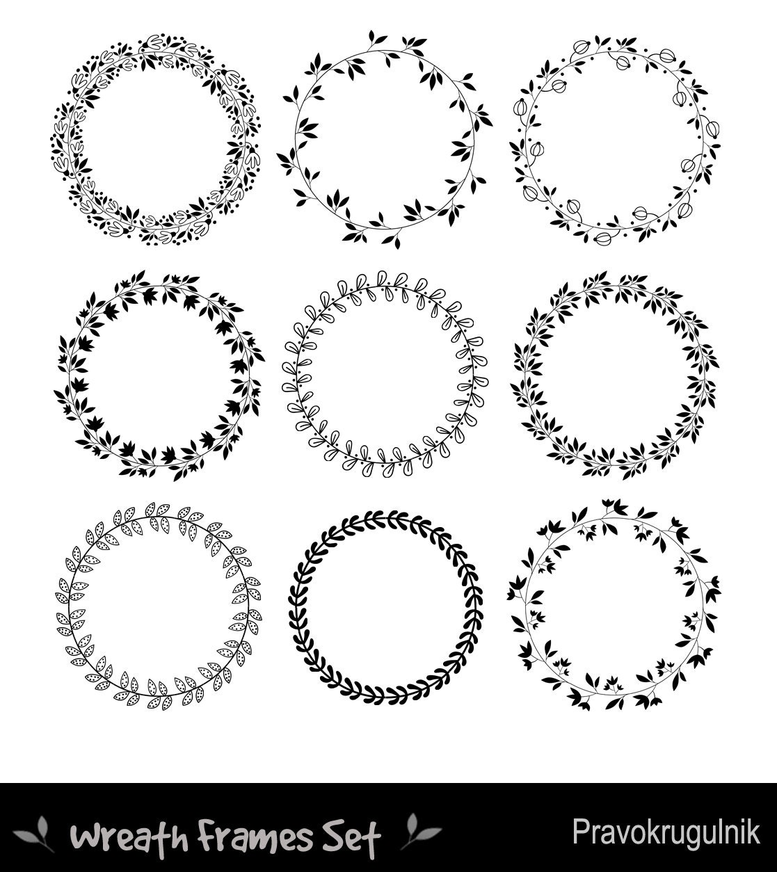 Runde Rahmen Clipart Blumenkränzen Clipart Kreis Rahmen | Etsy