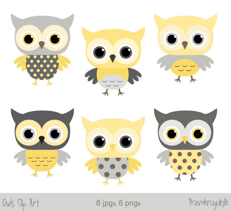 Grey And Yellow Baby Shower Owl Clipart Baby Boy Owl Clip Etsy